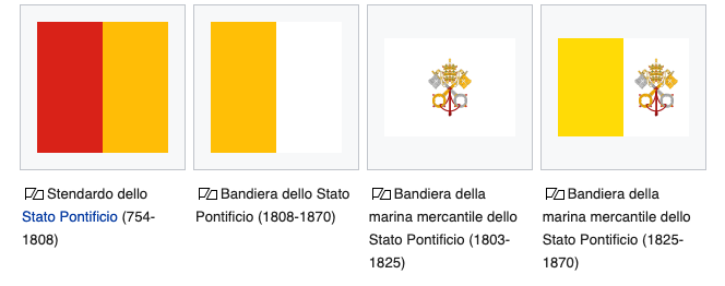 Historycal flags of Vatican City